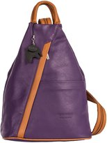 LiaTalia Womens Soft Genuine Leather Convertible Strap Backpack Bag - Made in Italy with a Branded Protective Storage Bag and Charm (Purple TanT)