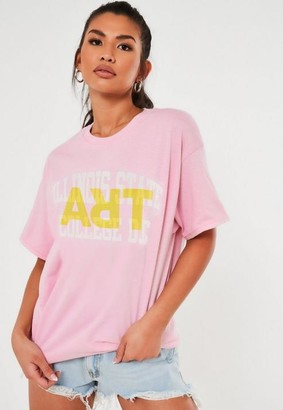 Missguided Pink Illinois Graphic T Shirt