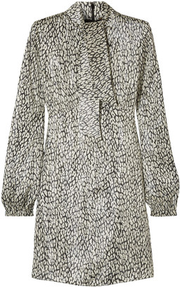 Saint Laurent Leopard-print Silk-blend Lame Mini Dress