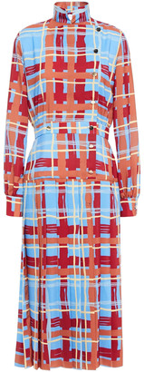 Stella Jean Checked Crepe De Chine Midi Dress