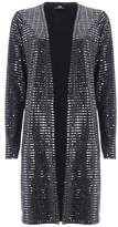 Wallis Silver Sequin Embellished Longline Cardigan