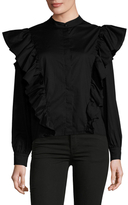 Lucca Couture Exaggerated Ruffle Sleeve Cotton Blouse