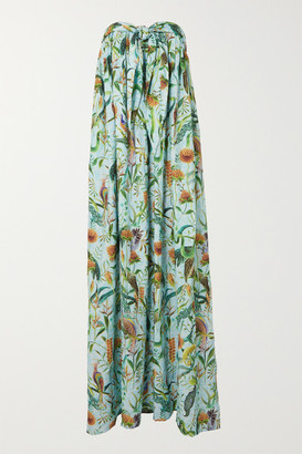 Dodo Bar Or + Annabel's Strapless Printed Cotton Maxi Dress - Sky blue