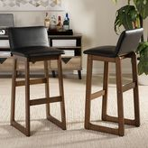 Baxton Studio Loft Modern Faux-Leather Bar Stool 2-piece Set