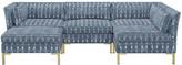 One Kings Lane Marceau U-Shaped Sectional - Indigo - frame, brass; upholstery, indigo/white