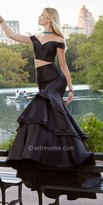 Jovani Two Piece Off the Shoulder Tiered Mikado Prom Dress