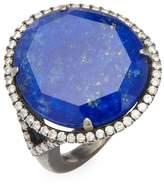 Meira T Women's Silver Lapis Diamond Ring