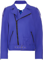Facetasm Cutout Coated Faux Leather Biker Jacket - Bright blue