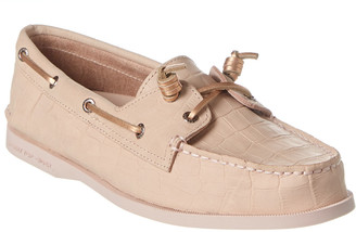 Sperry A/O Croc-Embossed Leather Boat Shoe