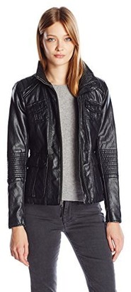 Lucky Brand Women's High Collar Faux Leather Jacket