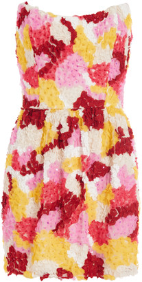 MARKARIAN Hawthorn Strapless Mini Floral Applique Dress