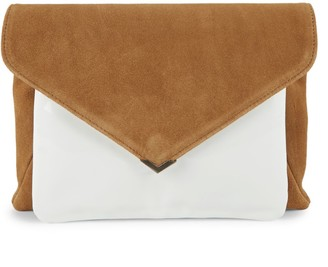 Sam Edelman Mila Suede & Patent Leather Envelope Clutch
