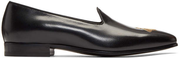 Gucci Black Bee Gallipoli Loafers