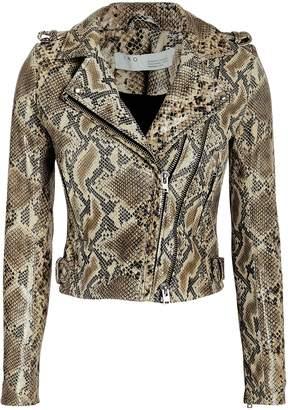 IRO Esme Python-Printed Leather Jacket