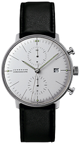 Junghans 027/4600.00 Max Bill Chronoscope Leather Strap Watch, Black/white