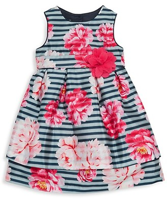 Pippa & Julie Little Girl's Floral Shadow Striped Fit--Flare Dress