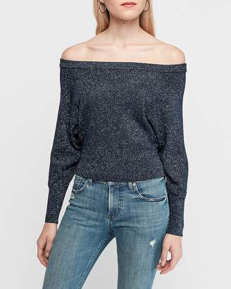 Express Metallic Off The Shoulder Mesh Stitch Pullover Sweater
