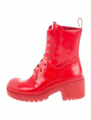 Marc Jacobs Patent Leather Combat Boots Red