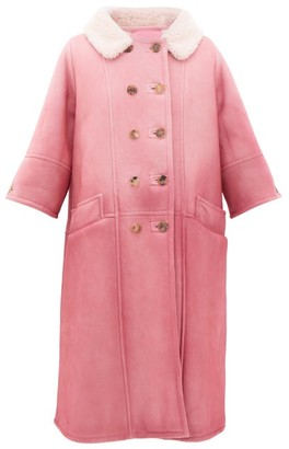 Prada Collared Double-breasted Shearling Coat - Light Pink