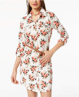 Ultra Flirt Juniors' Belted Printed Shirtdress