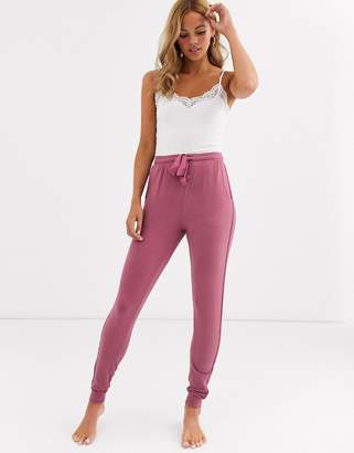 Women'secret sweatpants with piping in grape-Pink