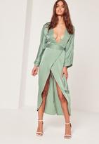 Missguided Silky Kimono Midi Dress Duckegg Blue