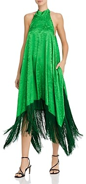 MSGM Abito Fringed Halter Midi Dress