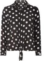 Dorothy Perkins Woblack Spotted Tie Front Shirt- Black