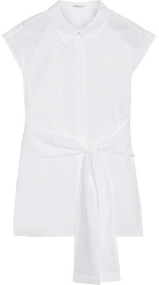 Alexander Wang Tie-front Cotton-poplin Shirt - White