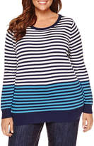 Liz Claiborne Long Sleeve Pattern Pullover Sweater-Plus