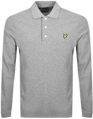 Lyle & Scott Long Sleeved Polo T Shirt Grey