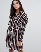 Love Striped Belted Shirt Dress