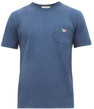 MAISON KITSUNÉ Fox Patch Cotton T-shirt - Mens - Mid Blue