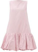 Valentino Gathered-hem Cotton-blend Faille Mini Dress - Womens - Light Pink
