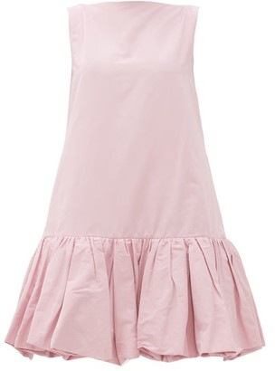 Valentino Gathered-hem Cotton-blend Faille Mini Dress - Womens - Light Pink