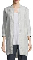 Eileen Fisher Linen Slub Check Jacket, Plus Size