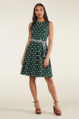 Yumi Spot Print Dress With Contrast Belt