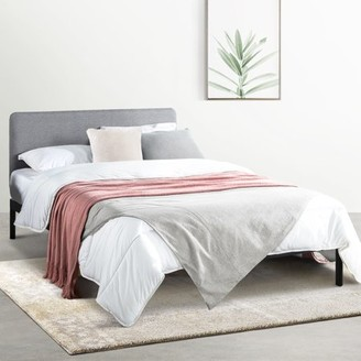 Mellow KERT Metal Platform Bed with Fabric Headboard, Rounded Legs and Corners, Oak Grey, Queen