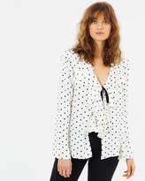 Living Doll Dotty Tie Front Blouse