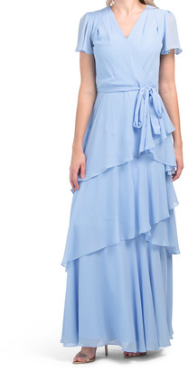Flutter Sleeve Tiered Gown