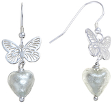 Glass Heart Martick Sterling Silver Butterfly Murano Earrings