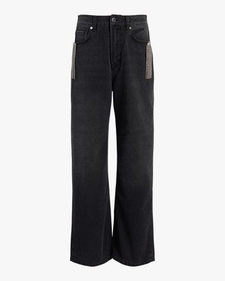 Christopher Kane Crystal Fringe Wide-Leg Jeans