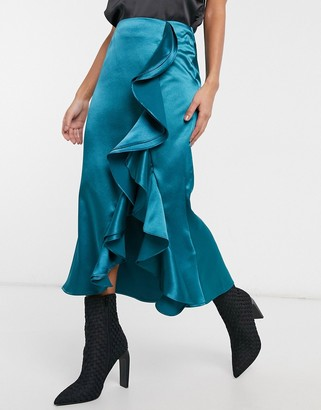 Virgos Lounge VL The Label satin ruffle front midi skirt with thigh split in teal
