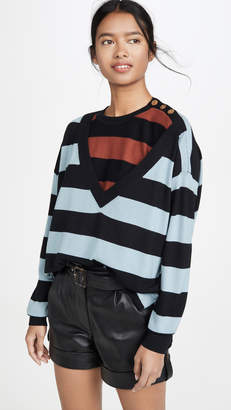 Sonia Rykiel Striped V Neck Sweater