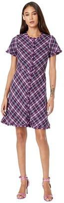 Kate Spade Plaid Tweed Dress (Plum Tree) Women's Dress