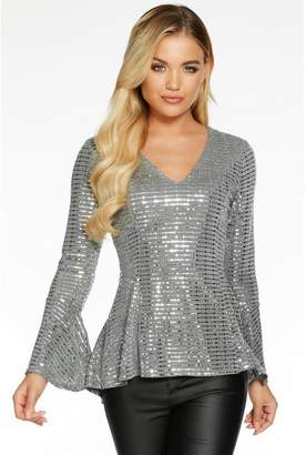 Quiz Silver Sequin V Neck Flute Sleeve Peplum Top