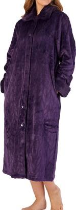 Slenderella Ladies Soft Thick Pink Velvet Fleece Faux Fur Collared Button Up Bath Robe Dressing Gown House Coat Medium 12 14