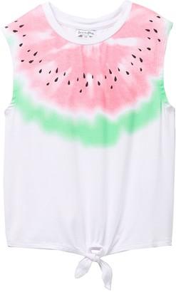 Love, Fire Watermelon Print Twist Front Top (Big Girls)