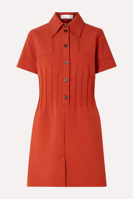 Victoria Victoria Beckham Victoria, Victoria Beckham - Pintucked Crepe Mini Dress - Tan
