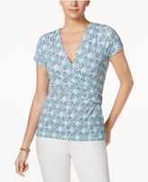Charter Club Printed Faux-Wrap Top, Created for Macy's